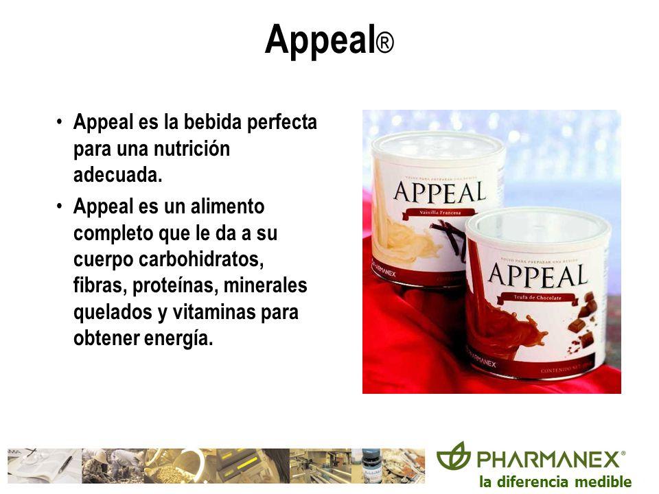 la diferencia medible Appeal ® Appeal es la bebida perfecta para una nutrición adecuada. Appeal es un alimento completo que le da a su cuerpo carbohid
