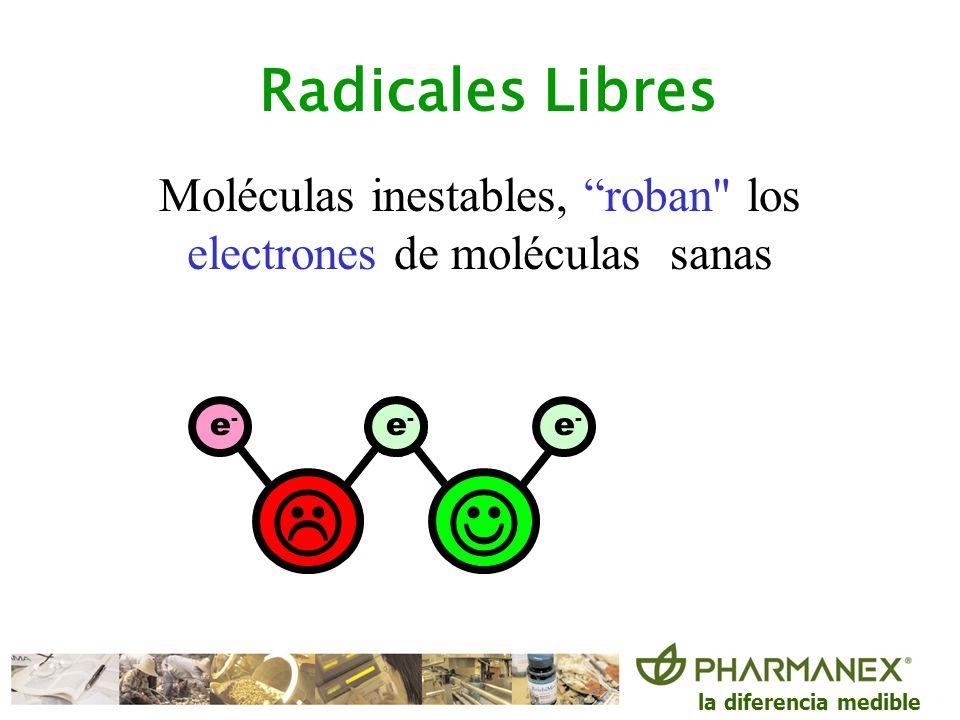 la diferencia medible e-e- e-e- e-e- e-e- Moléculas inestables, roban los electrones de otras moléculas sanas para completar su estabilidad Radicales Libres