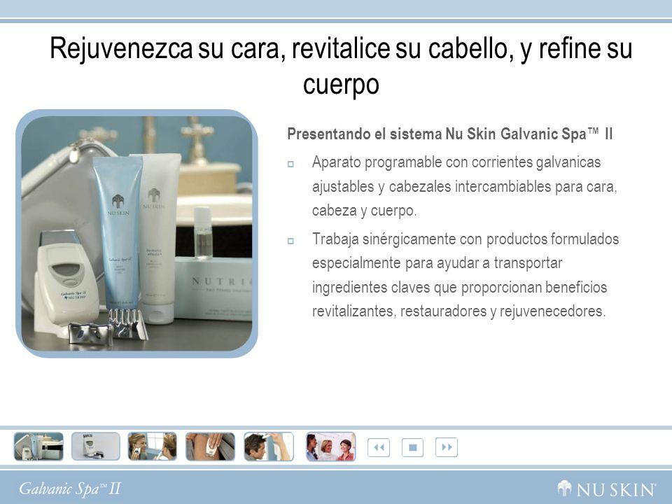 Rejuvenezca su cara, revitalice su cabello, y refine su cuerpo Presentando el sistema Nu Skin Galvanic Spa II Aparato programable con corrientes galva
