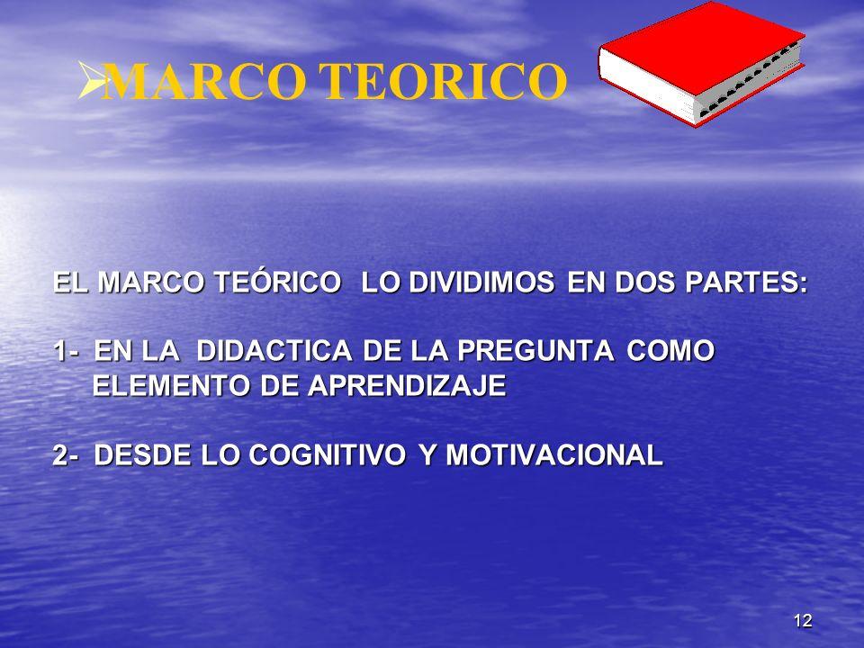 12 MARCO TEORICO EL MARCO TEÓRICO LO DIVIDIMOS EN DOS PARTES: 1- EN LA DIDACTICA DE LA PREGUNTA COMO ELEMENTO DE APRENDIZAJE 2- DESDE LO COGNITIVO Y M