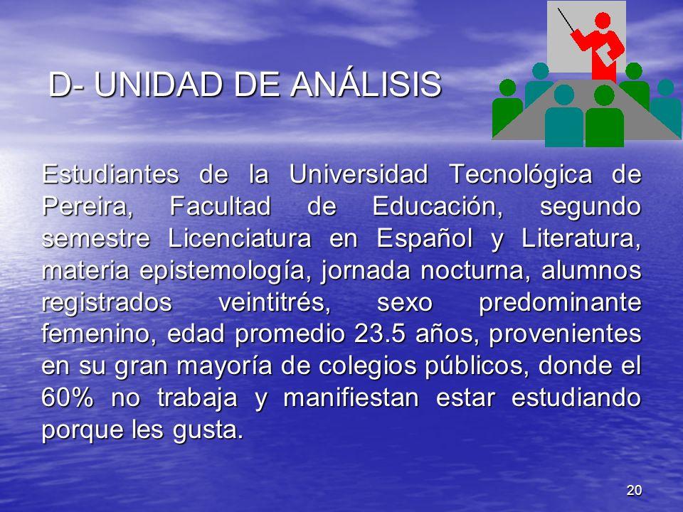 20 D- UNIDAD DE ANÁLISIS Estudiantes de la Universidad Tecnológica de Pereira, Facultad de Educación, segundo semestre Licenciatura en Español y Liter