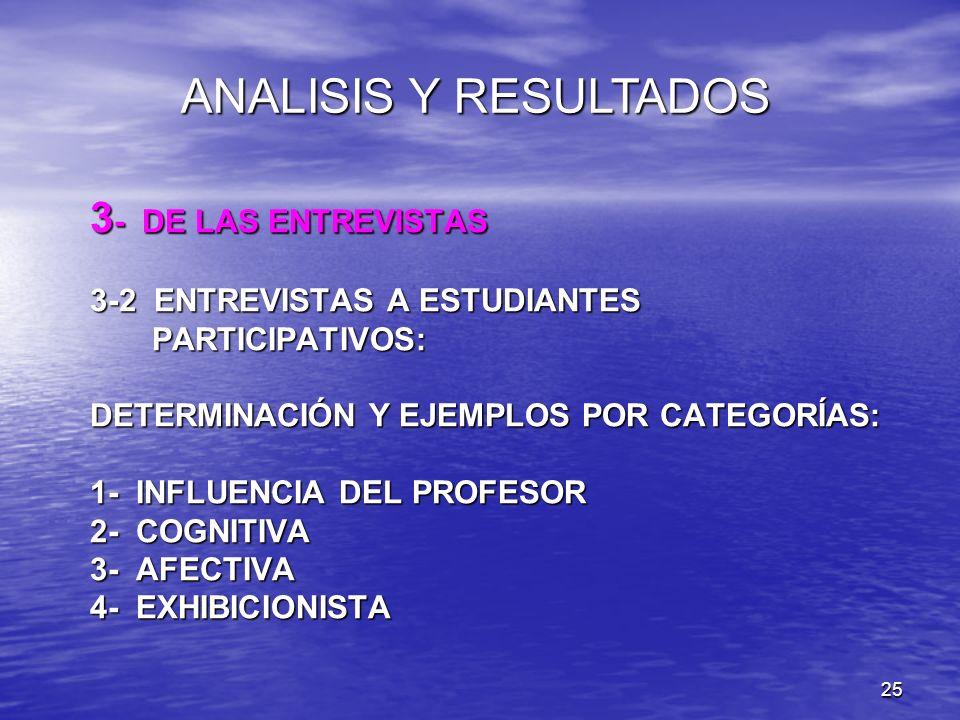 25 3 - DE LAS ENTREVISTAS 3-2 ENTREVISTAS A ESTUDIANTES PARTICIPATIVOS: DETERMINACIÓN Y EJEMPLOS POR CATEGORÍAS: 1- INFLUENCIA DEL PROFESOR 2- COGNITI