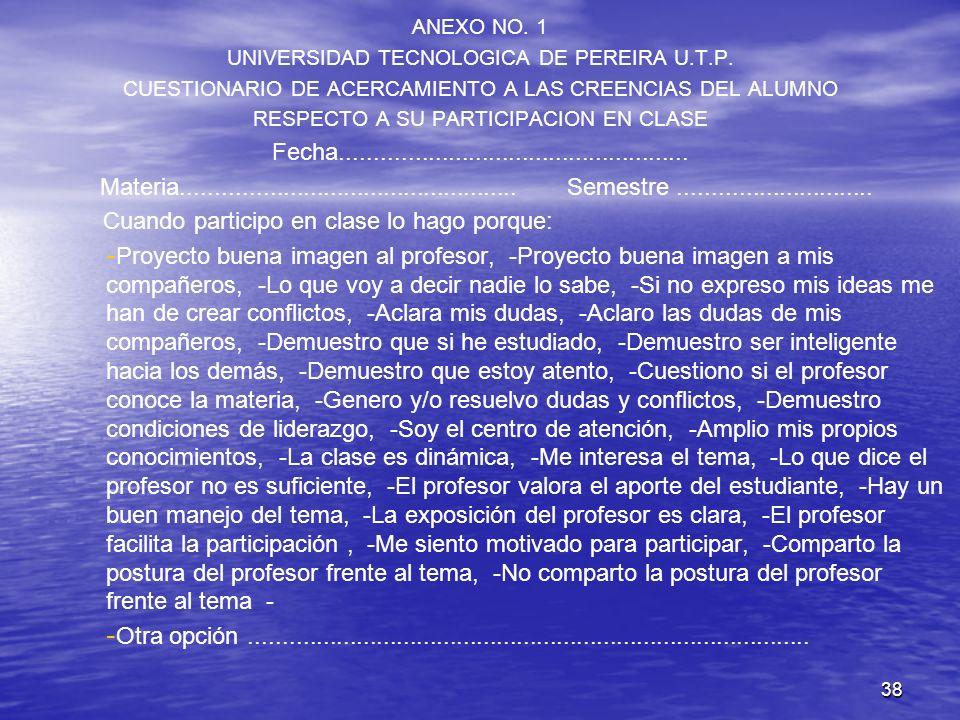 38 ANEXO NO. 1 UNIVERSIDAD TECNOLOGICA DE PEREIRA U.T.P. CUESTIONARIO DE ACERCAMIENTO A LAS CREENCIAS DEL ALUMNO RESPECTO A SU PARTICIPACION EN CLASE