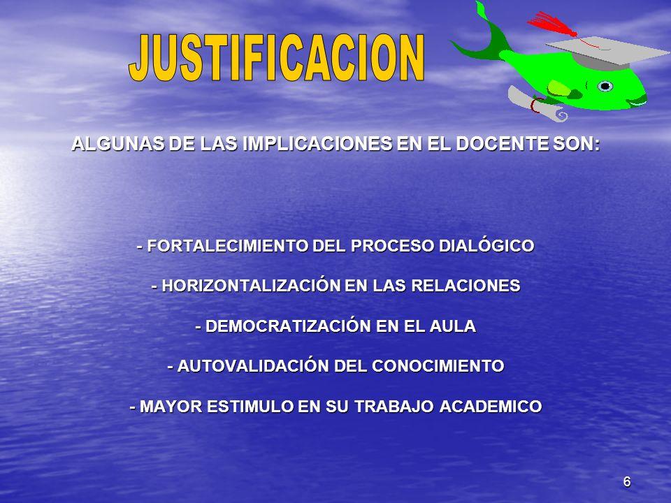 6 ALGUNAS DE LAS IMPLICACIONES EN EL DOCENTE SON: - FORTALECIMIENTO DEL PROCESO DIALÓGICO - HORIZONTALIZACIÓN EN LAS RELACIONES - DEMOCRATIZACIÓN EN E
