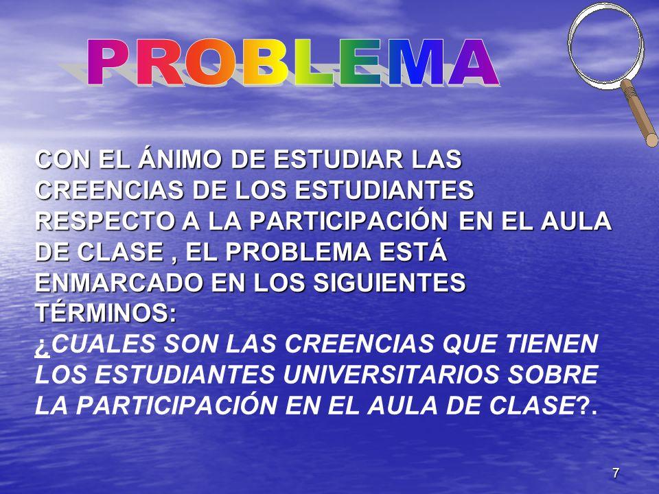 7 CON EL ÁNIMO DE ESTUDIAR LAS CREENCIAS DE LOS ESTUDIANTES RESPECTO A LA PARTICIPACIÓN EN EL AULA DE CLASE, EL PROBLEMA ESTÁ ENMARCADO EN LOS SIGUIEN