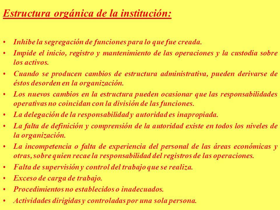 Estructura orgánica de la institución: Inhibe la segregación de funciones para lo que fue creada.