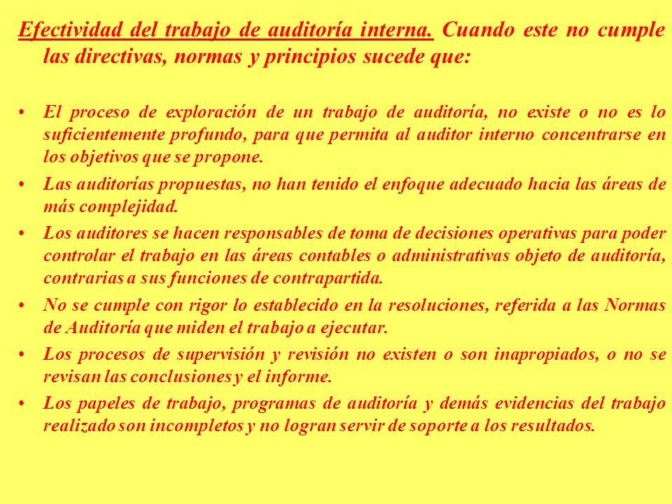 Efectividad del trabajo de auditoría interna.
