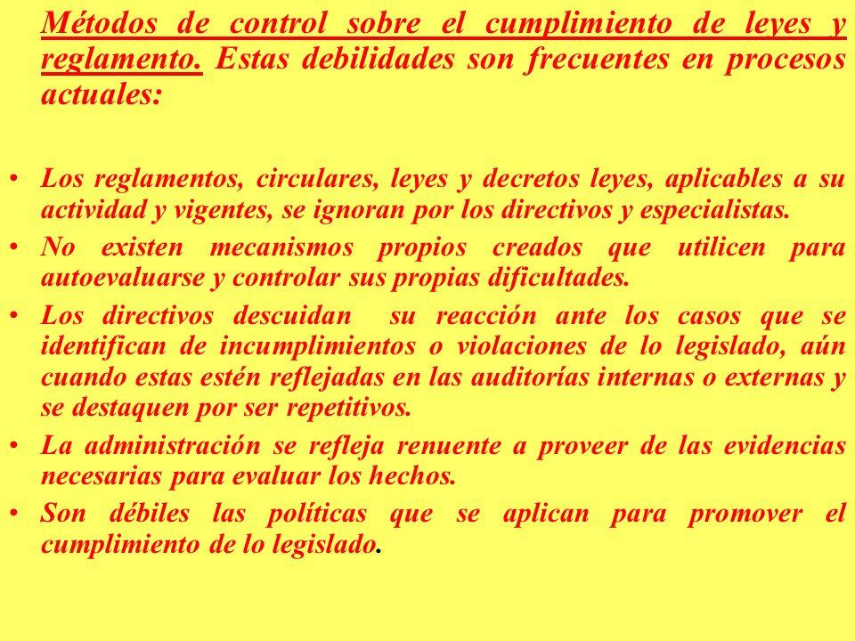 Métodos de control sobre el cumplimiento de leyes y reglamento.