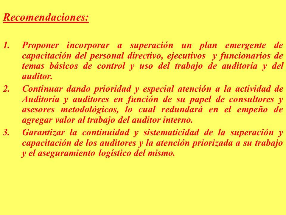 Recomendaciones: 1.Proponer incorporar a superación un plan emergente de capacitación del personal directivo, ejecutivos y funcionarios de temas básicos de control y uso del trabajo de auditoría y del auditor.