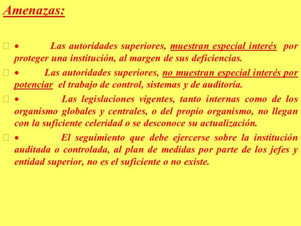 Amenazas: Las autoridades superiores, muestran especial interés por proteger una institución, al margen de sus deficiencias.