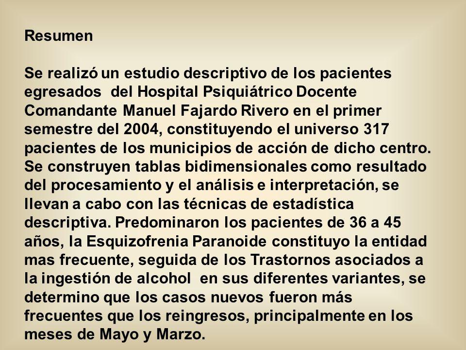 Trabajo publicado en www.ilustrados.comwww.ilustrados.com La mayor Comunidad de difusión del conocimiento Hospital Psiquiátrico Provincial Docente Comandante Manuel Fajardo Rivero Manzanillo - Granma Morbilidad en el Hospital Psiquiátrico Comandante Manuel Fajardo Rivero Autores : Dra.