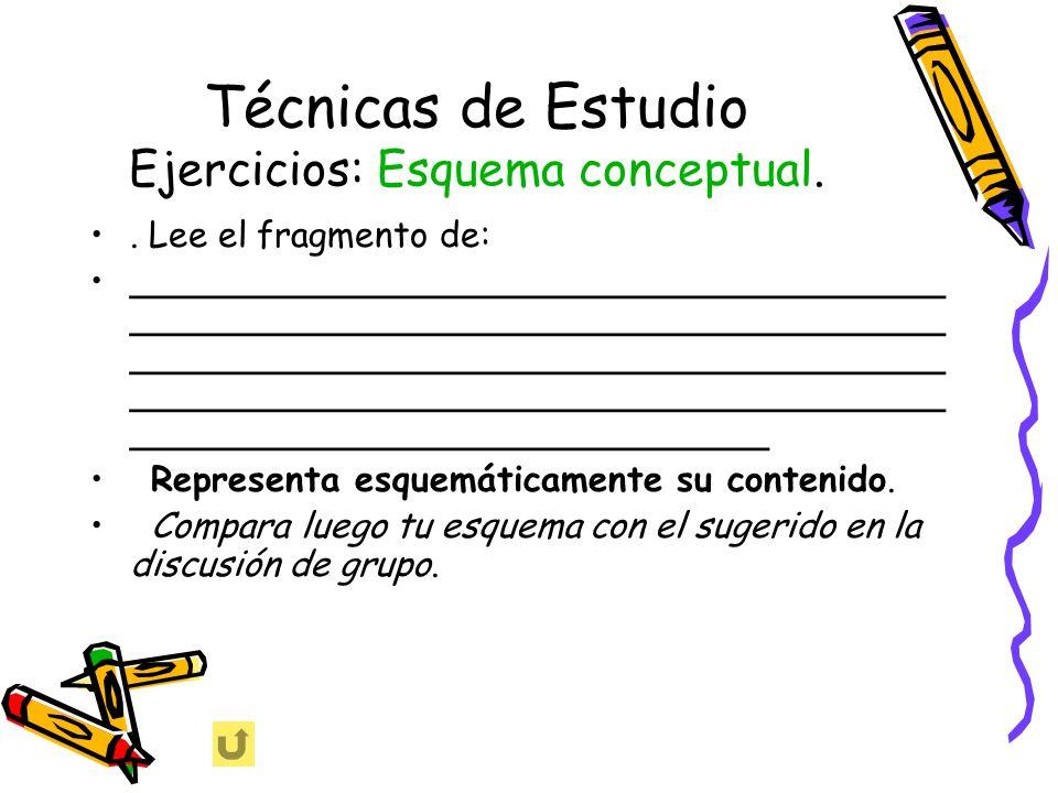 Técnicas de Estudio Ejercicios: Esquema conceptual.. Lee el fragmento de: _____________________________________ _____________________________________