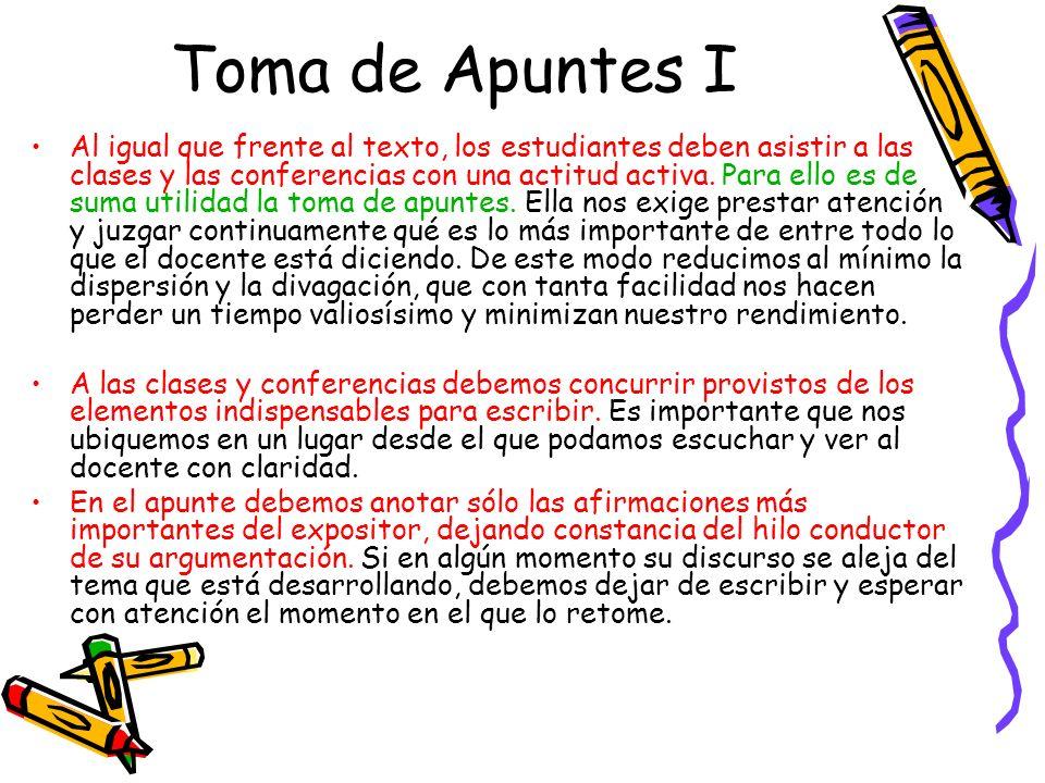 Toma de Apuntes I Al igual que frente al texto, los estudiantes deben asistir a las clases y las conferencias con una actitud activa. Para ello es de