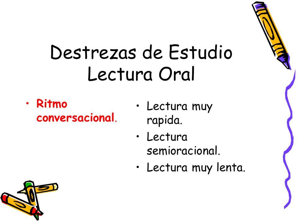 Destrezas de Estudio Lectura Oral Ritmo conversacional. Lectura muy rapida. Lectura semioracional. Lectura muy lenta.