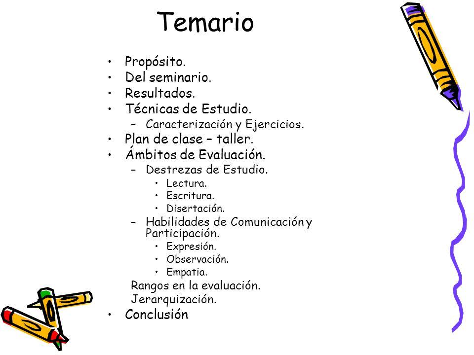 Temario Propósito. Del seminario. Resultados. Técnicas de Estudio. –Caracterización y Ejercicios. Plan de clase – taller. Ámbitos de Evaluación. –Dest
