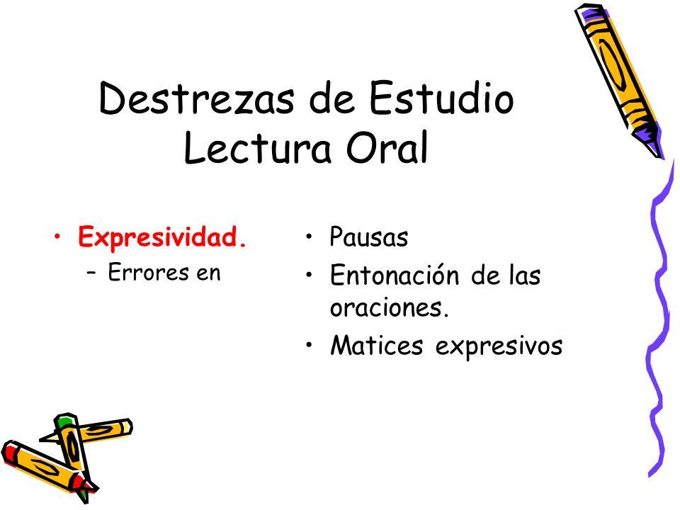 Destrezas de Estudio Lectura Oral Expresividad. –Errores en Pausas Entonación de las oraciones. Matices expresivos