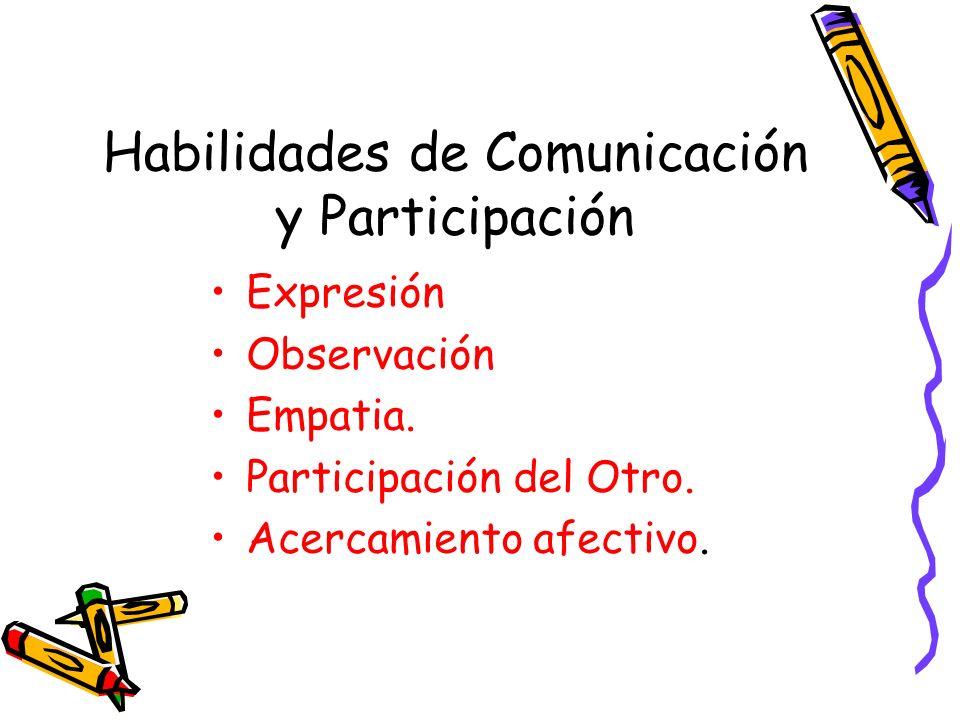 Habilidades de Comunicación y Participación Expresión Observación Empatia. Participación del Otro. Acercamiento afectivo.
