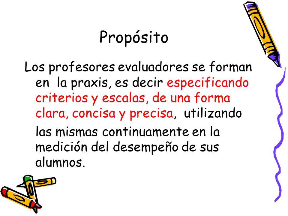 Propósito Los profesores evaluadores se forman en la praxis, es decir especificando criterios y escalas, de una forma clara, concisa y precisa, utiliz