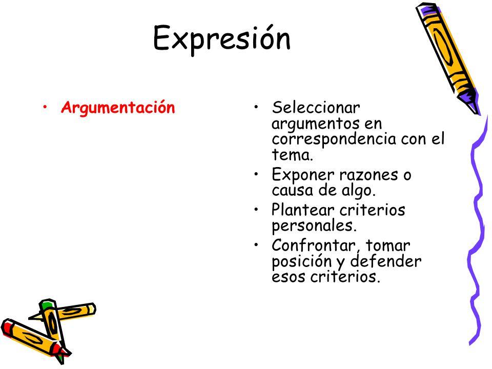 Expresión ArgumentaciónSeleccionar argumentos en correspondencia con el tema. Exponer razones o causa de algo. Plantear criterios personales. Confront