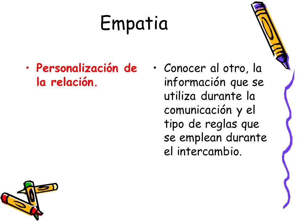 Empatia Personalización de la relación. Conocer al otro, la información que se utiliza durante la comunicación y el tipo de reglas que se emplean dura