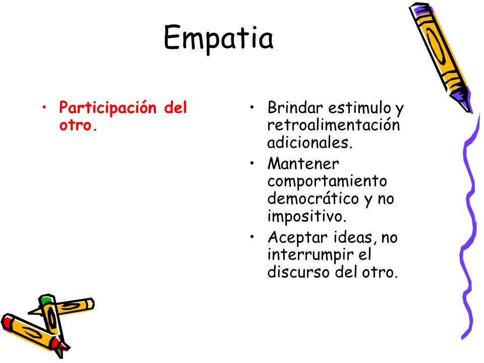 Empatia Participación del otro. Brindar estimulo y retroalimentación adicionales. Mantener comportamiento democrático y no impositivo. Aceptar ideas,