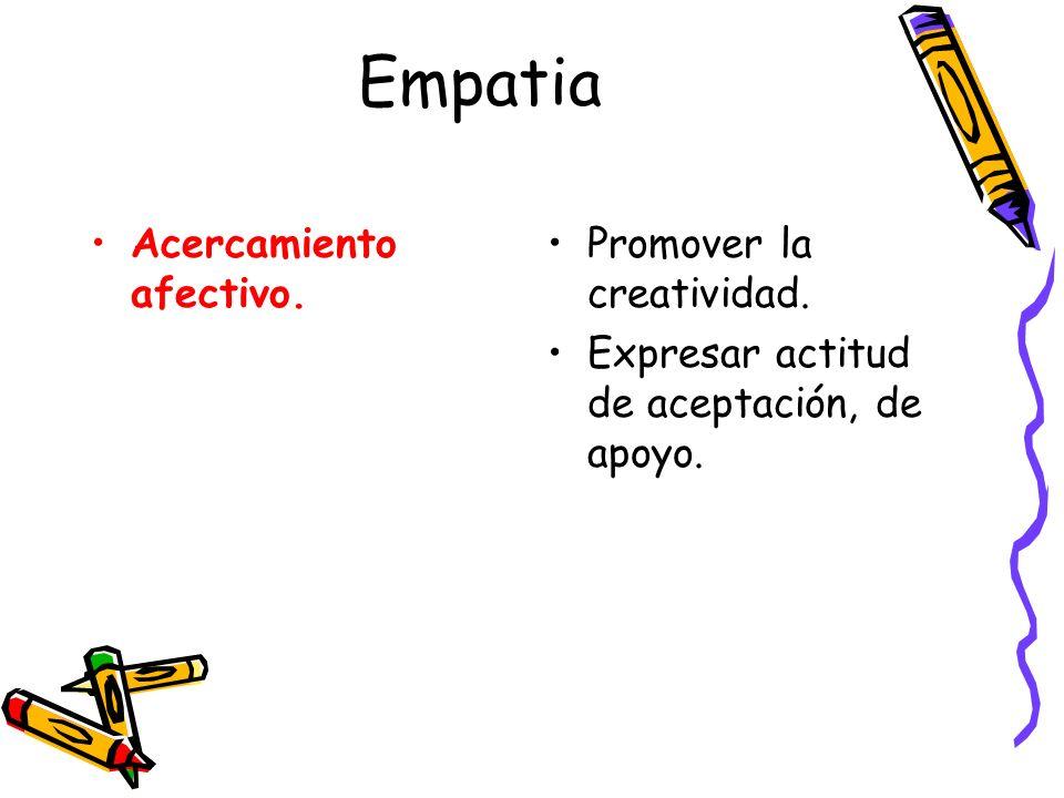 Empatia Acercamiento afectivo. Promover la creatividad. Expresar actitud de aceptación, de apoyo.