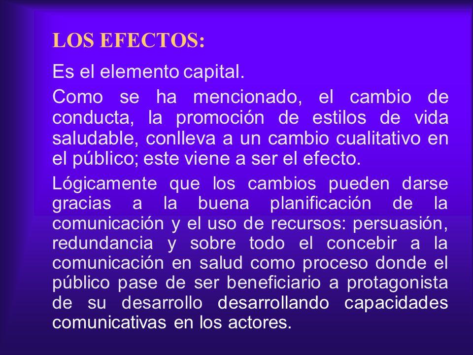 LOS EFECTOS: Es el elemento capital. Como se ha mencionado, el cambio de conducta, la promoción de estilos de vida saludable, conlleva a un cambio cua