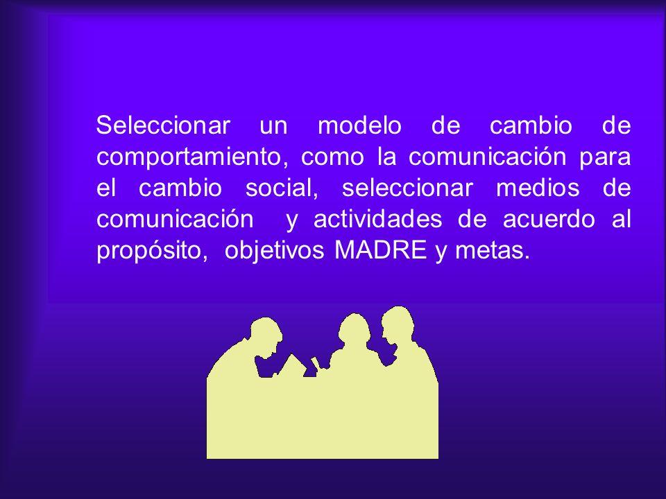 Seleccionar un modelo de cambio de comportamiento, como la comunicación para el cambio social, seleccionar medios de comunicación y actividades de acu