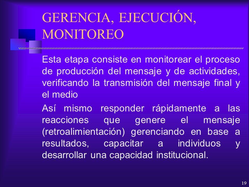 19 GERENCIA, EJECUCIÓN, MONITOREO Esta etapa consiste en monitorear el proceso de producción del mensaje y de actividades, verificando la transmisión
