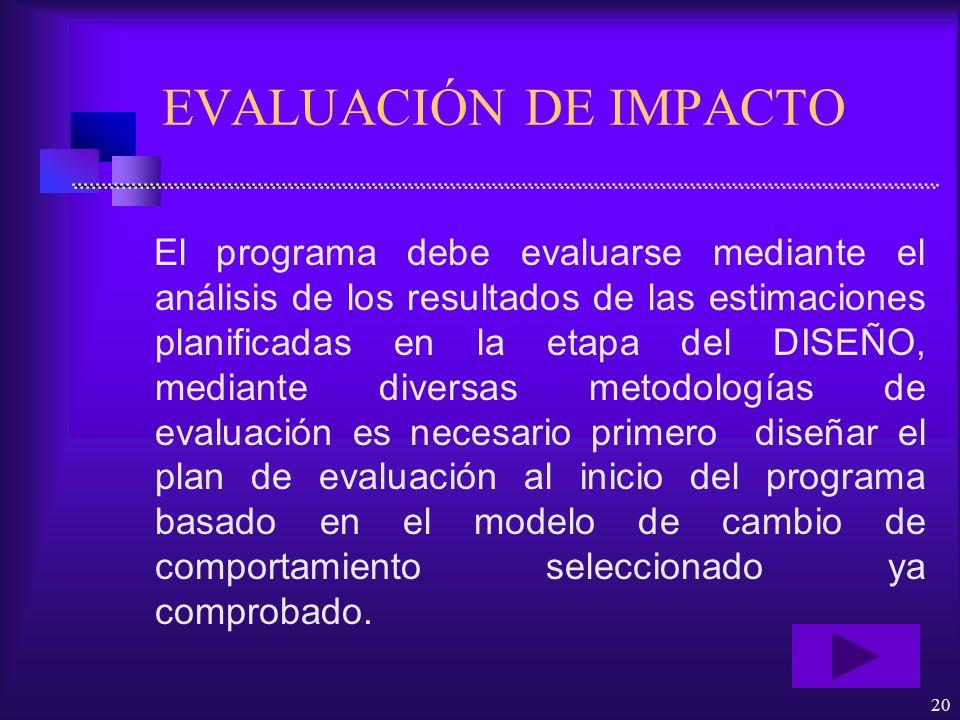 20 EVALUACIÓN DE IMPACTO El programa debe evaluarse mediante el análisis de los resultados de las estimaciones planificadas en la etapa del DISEÑO, me