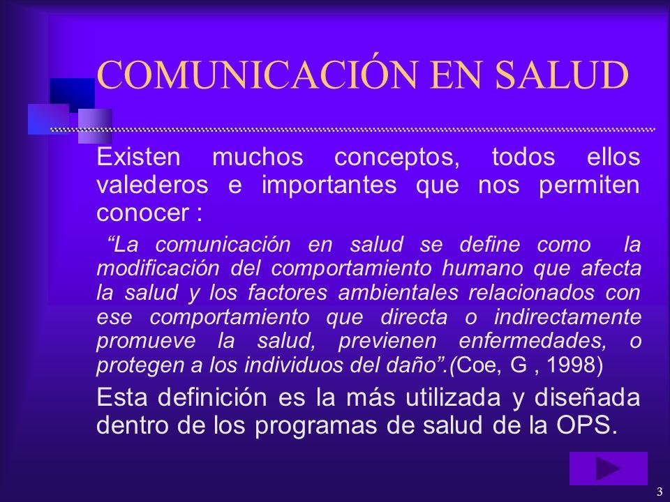 3 COMUNICACIÓN EN SALUD Existen muchos conceptos, todos ellos valederos e importantes que nos permiten conocer : La comunicación en salud se define co