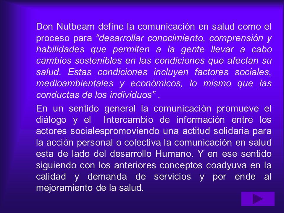 Don Nutbeam define la comunicación en salud como el proceso para desarrollar conocimiento, comprensión y habilidades que permiten a la gente llevar a