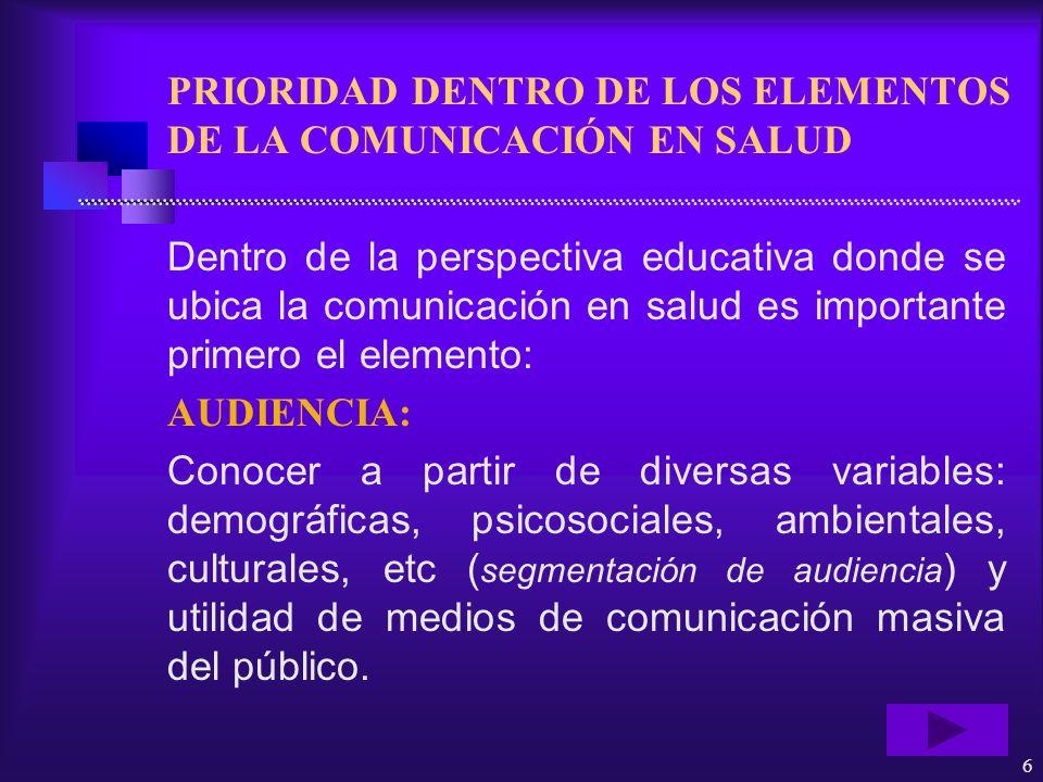 6 PRIORIDAD DENTRO DE LOS ELEMENTOS DE LA COMUNICACIÓN EN SALUD Dentro de la perspectiva educativa donde se ubica la comunicación en salud es importan