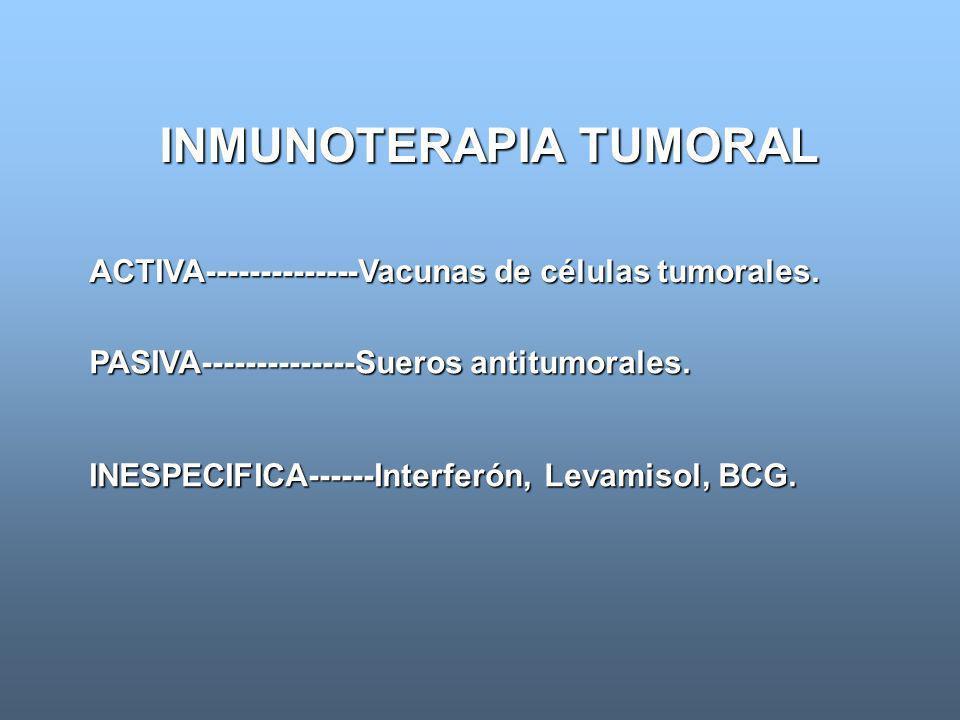 INMUNOTERAPIA TUMORAL PASIVA--------------Sueros antitumorales. ACTIVA--------------Vacunas de células tumorales. INESPECIFICA------Interferón, Levami