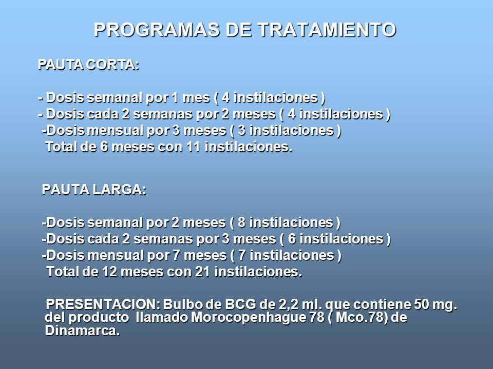 PROGRAMAS DE TRATAMIENTO PAUTA LARGA: PAUTA LARGA: -Dosis semanal por 2 meses ( 8 instilaciones ) -Dosis semanal por 2 meses ( 8 instilaciones ) -Dosi