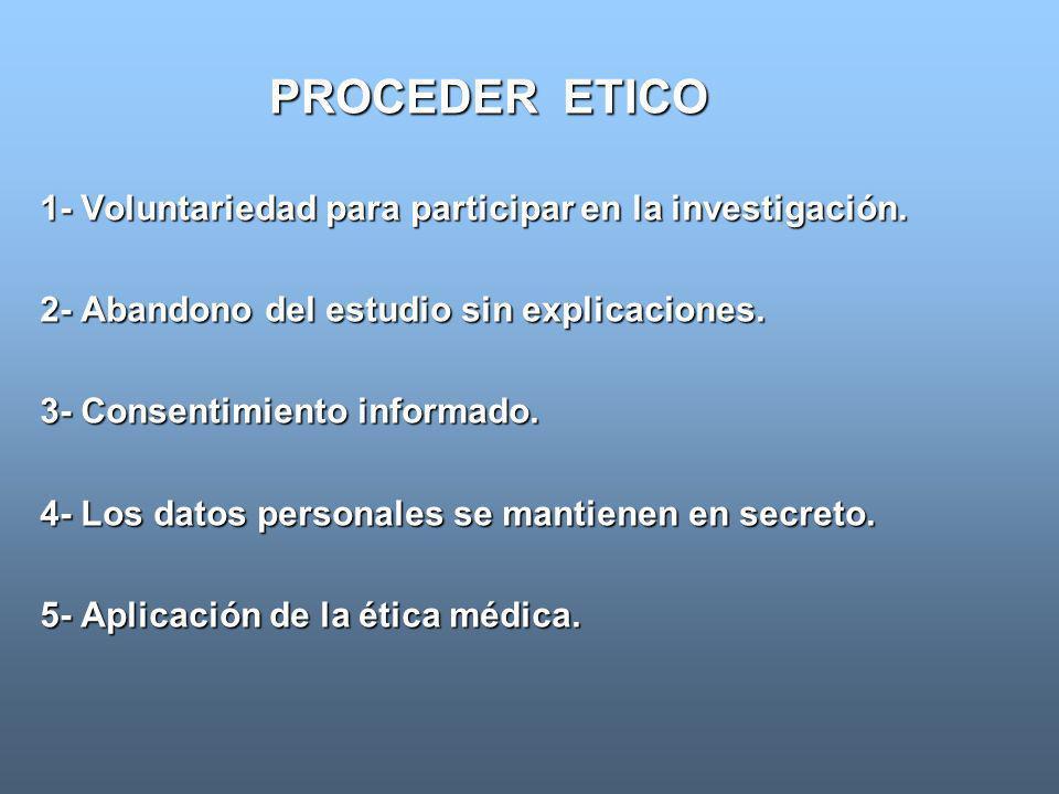 PROCEDER ETICO 1- Voluntariedad para participar en la investigación. 2- Abandono del estudio sin explicaciones. 3- Consentimiento informado. 4- Los da