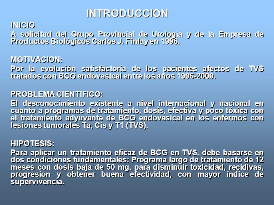 INTRODUCCION INICIO A solicitud del Grupo Provincial de Urología y de la Empresa de Productos Biológicos Carlos J. Finlay en 1996. MOTIVACION: Por la
