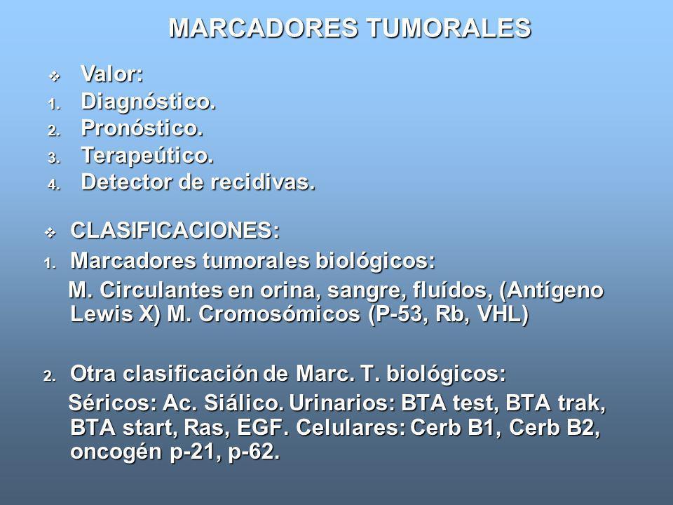 MARCADORES TUMORALES CLASIFICACIONES: CLASIFICACIONES: 1. Marcadores tumorales biológicos: M. Circulantes en orina, sangre, fluídos, (Antígeno Lewis X