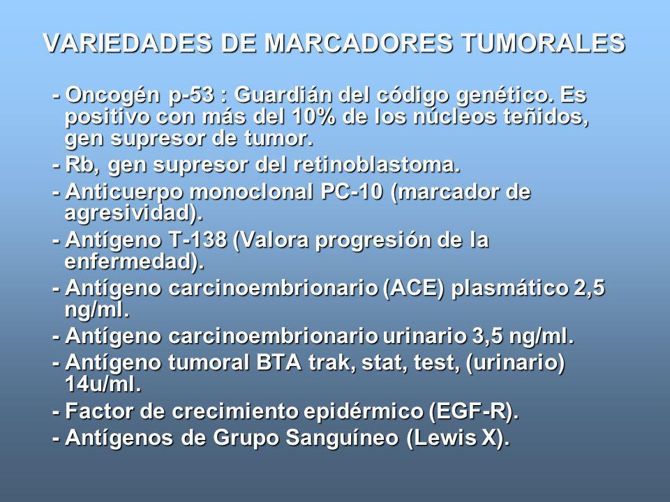 VARIEDADES DE MARCADORES TUMORALES - Oncogén p-53 : Guardián del código genético. Es positivo con más del 10% de los núcleos teñidos, gen supresor de