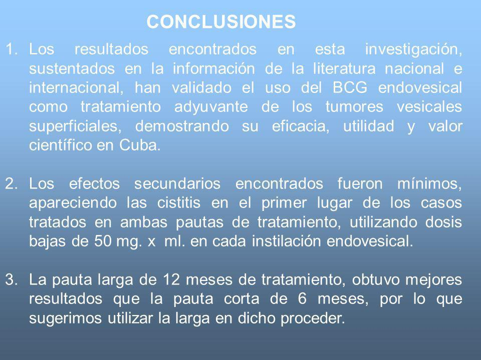 CONCLUSIONES 1.Los resultados encontrados en esta investigación, sustentados en la información de la literatura nacional e internacional, han validado