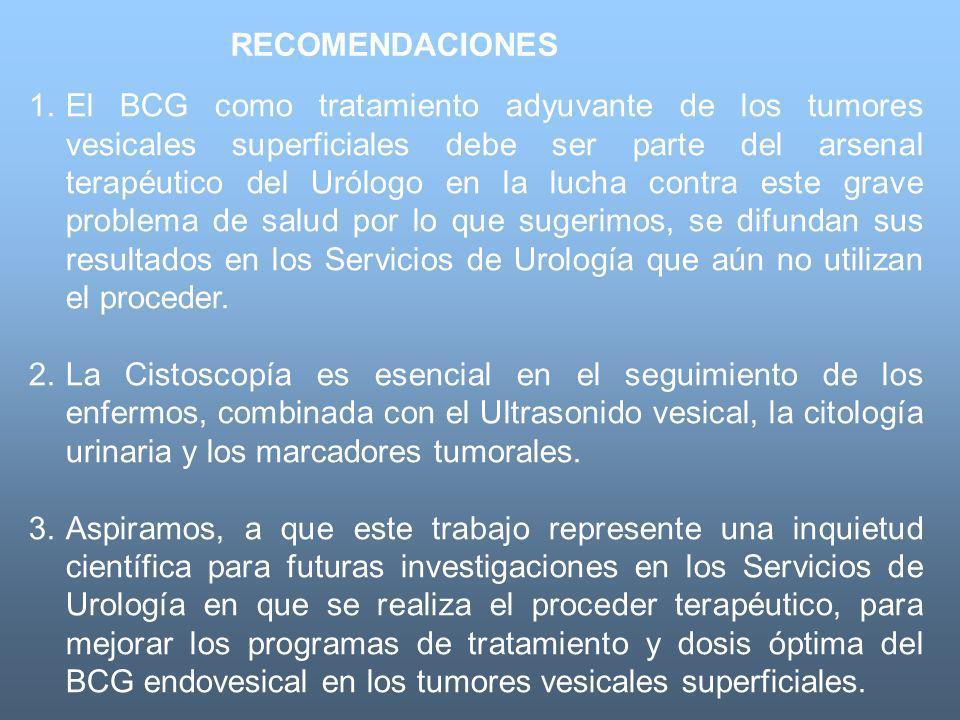 1.El BCG como tratamiento adyuvante de los tumores vesicales superficiales debe ser parte del arsenal terapéutico del Urólogo en la lucha contra este