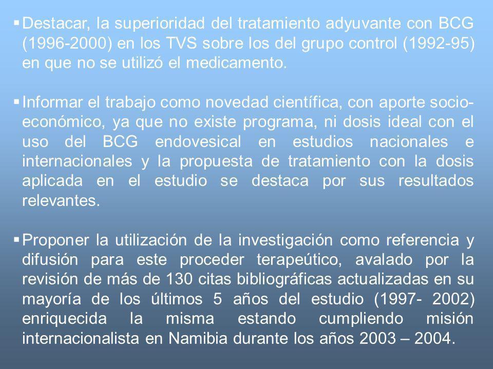 Destacar, la superioridad del tratamiento adyuvante con BCG (1996-2000) en los TVS sobre los del grupo control (1992-95) en que no se utilizó el medic