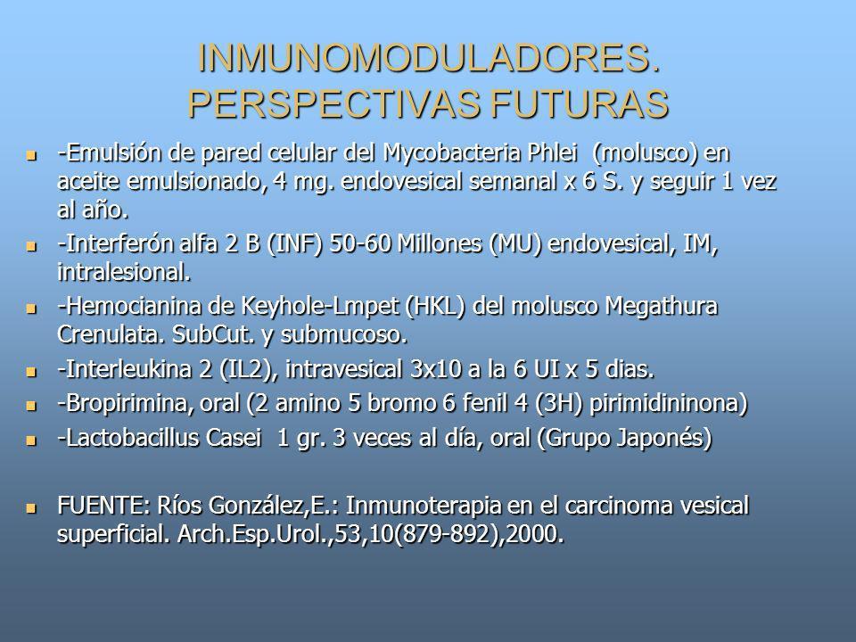 INMUNOMODULADORES. PERSPECTIVAS FUTURAS -Emulsión de pared celular del Mycobacteria Phlei (molusco) en aceite emulsionado, 4 mg. endovesical semanal x