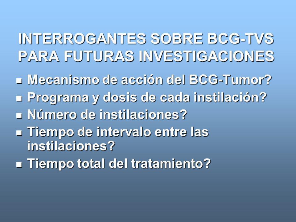 INTERROGANTES SOBRE BCG-TVS PARA FUTURAS INVESTIGACIONES Mecanismo de acción del BCG-Tumor? Mecanismo de acción del BCG-Tumor? Programa y dosis de cad
