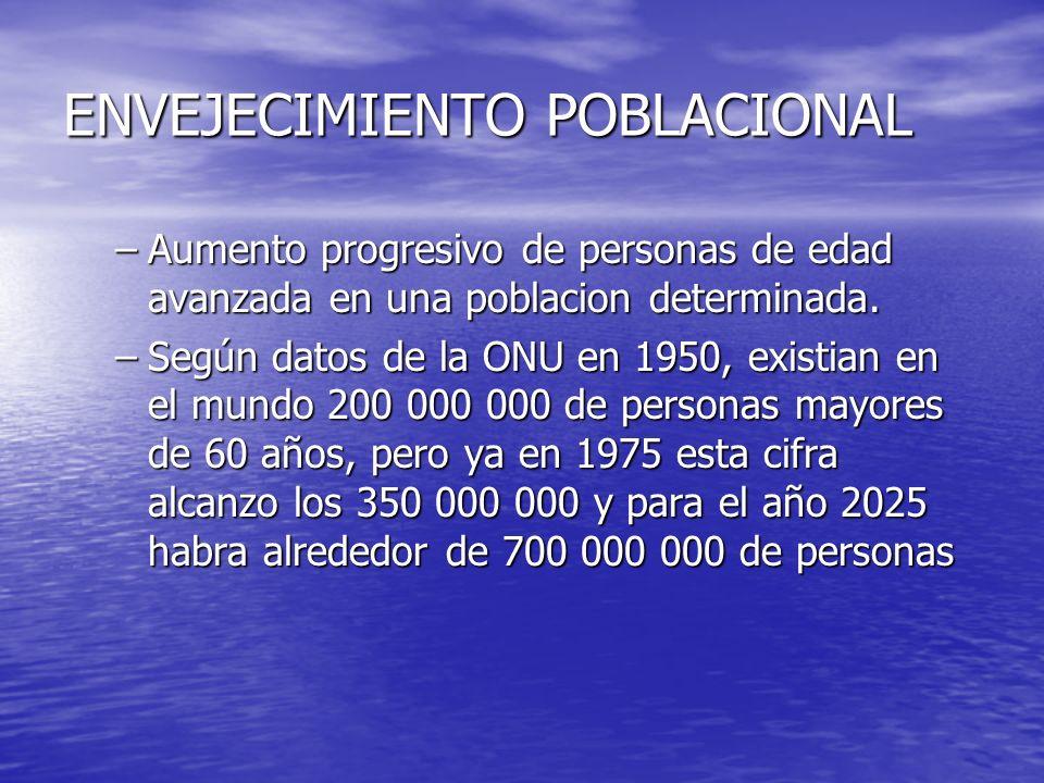 ENVEJECIMIENTO POBLACIONAL –Aumento progresivo de personas de edad avanzada en una poblacion determinada. –Según datos de la ONU en 1950, existian en