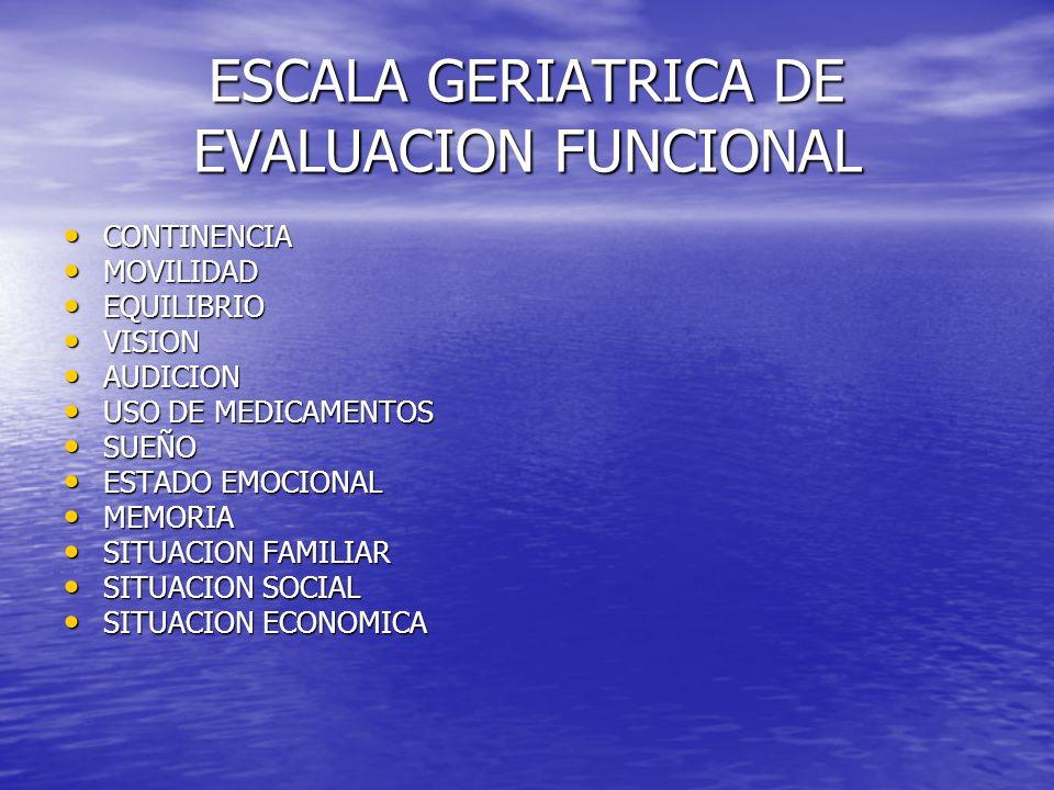 ESCALA GERIATRICA DE EVALUACION FUNCIONAL CONTINENCIA CONTINENCIA MOVILIDAD MOVILIDAD EQUILIBRIO EQUILIBRIO VISION VISION AUDICION AUDICION USO DE MED