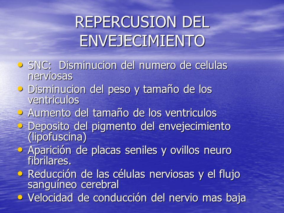 REPERCUSION DEL ENVEJECIMIENTO SNC: Disminucion del numero de celulas nerviosas SNC: Disminucion del numero de celulas nerviosas Disminucion del peso