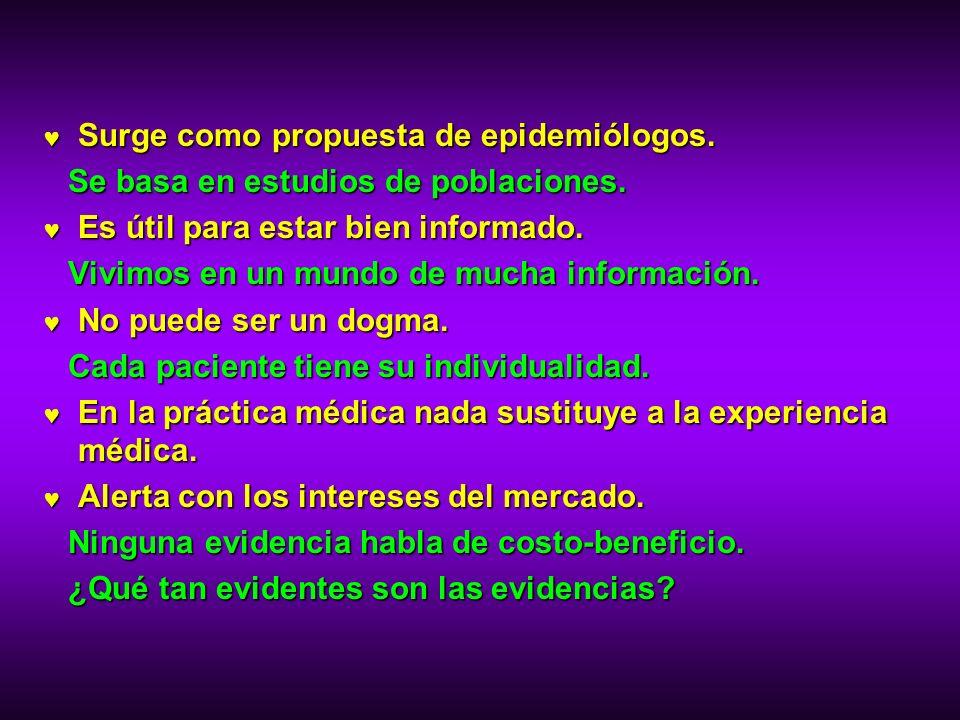 Surge como propuesta de epidemiólogos. Surge como propuesta de epidemiólogos. Se basa en estudios de poblaciones. Es útil para estar bien informado. E