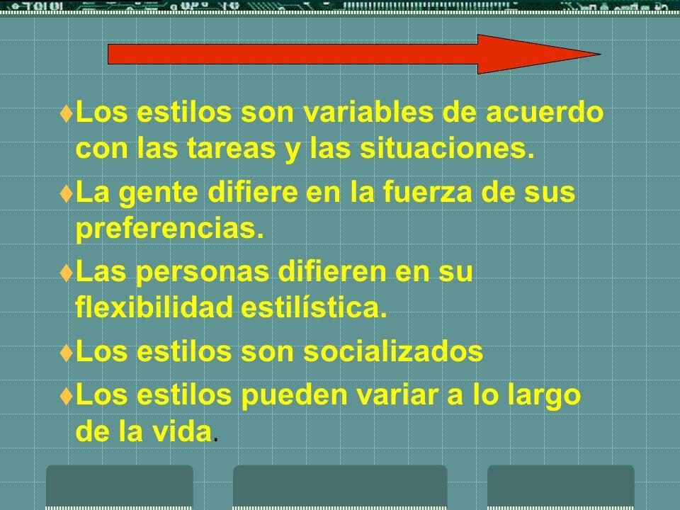 Los estilos son variables de acuerdo con las tareas y las situaciones. La gente difiere en la fuerza de sus preferencias. Las personas difieren en su