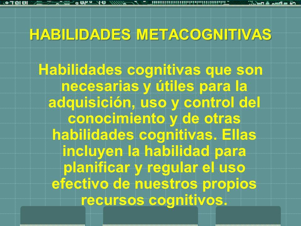 HABILIDADES METACOGNITIVAS Habilidades cognitivas que son necesarias y útiles para la adquisición, uso y control del conocimiento y de otras habilidad